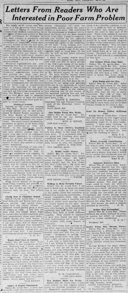 Letters from readers in response to newspaper's poorhouse crusade, 1922 -