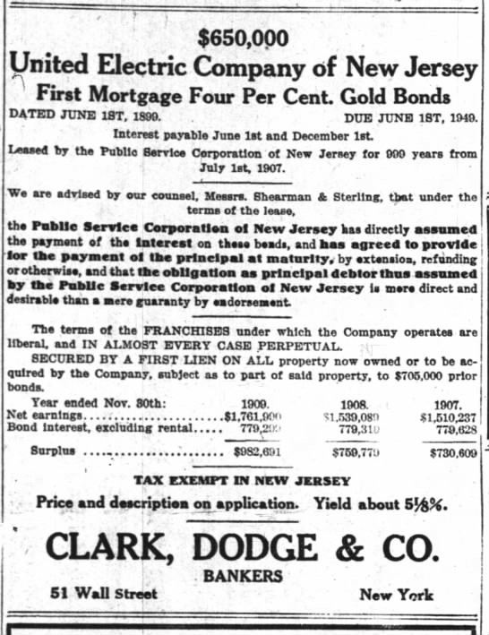 Gold Bonds offered by United Electric Company of New Jersey -