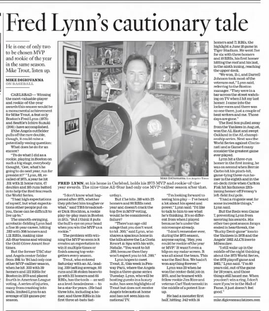 Fred Lynn's cautionary tale -