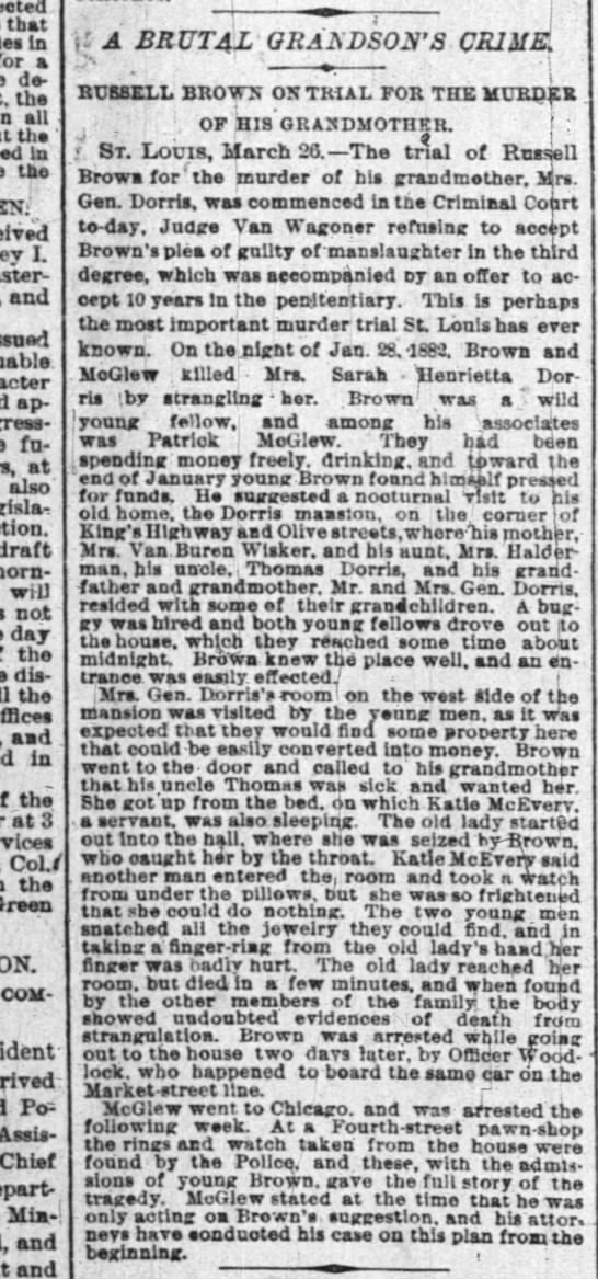 Bad, Bad Russell Brown & his McGlew henchman, NYT 27 Mar 1883 -