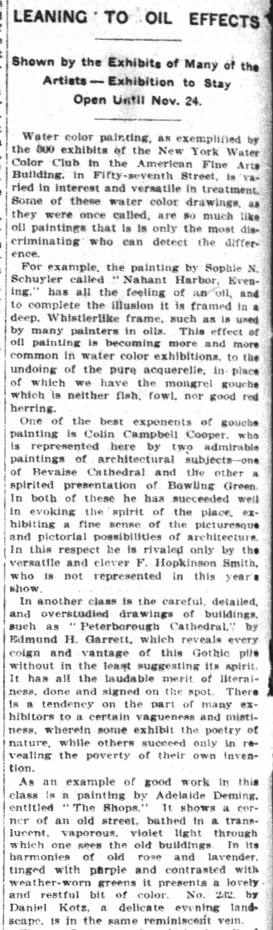 Leaning to Oil Effects. The New York Times (New York, New York) 3 November 1907, p 8 -