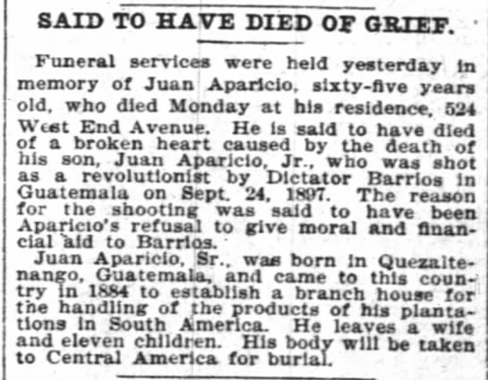 Said to have died of Grief.The New York Times. (New York, New York) 14 June 1899,  p 1 -