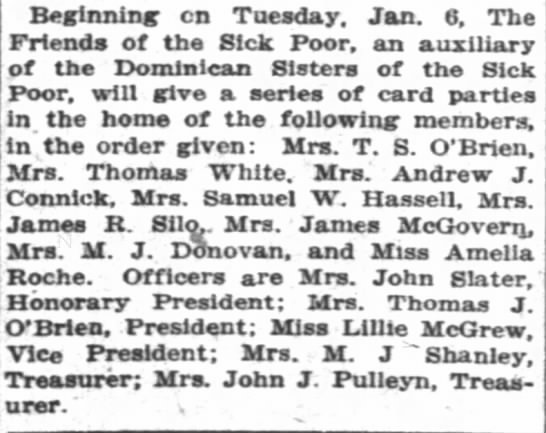 Hassell, May, card parties, NYT 12-28-1913, p. 61 -