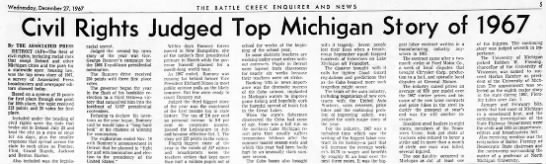 Civil Rights Judged Top Michigan Story of 1967 -