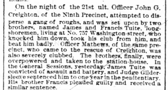 Two Tuite brothers in trouble - James and Francis -