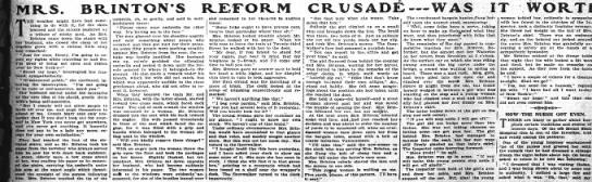 "Mrs Brinton""s reform crusade -"