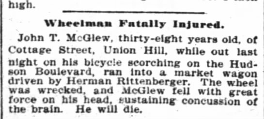 John T. McGlew bicycle accident in New York, 16 Sep 1897 -