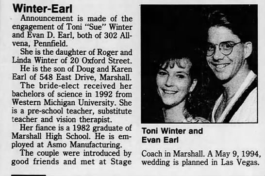 1993 Engagement Toni Winter - Winter-Earl - Announcement is made of the...