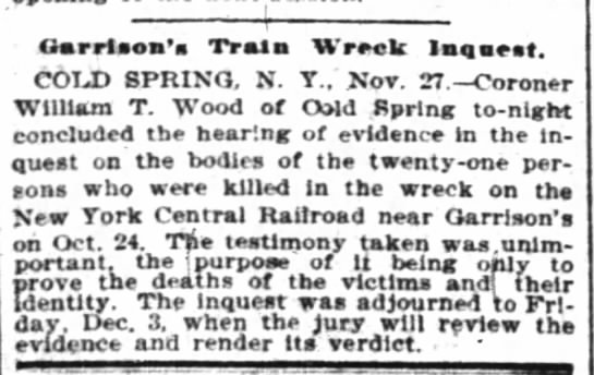 NYT 28 Nov 1897 - Garrison's Train Wreck - William T. Wood, Coroner -