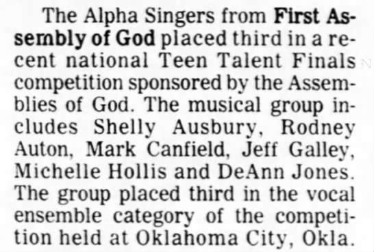 1980 0906 Jeff Galley in ensemble that placed 3rd in A/G Teen Talent Finals -