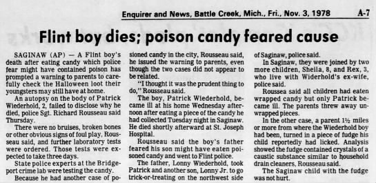 Wiederhold child killed eating Halloween candy. -