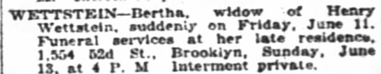 Bertha Wettstein New York Times death notice 1920 Brooklyn, N. Y. -