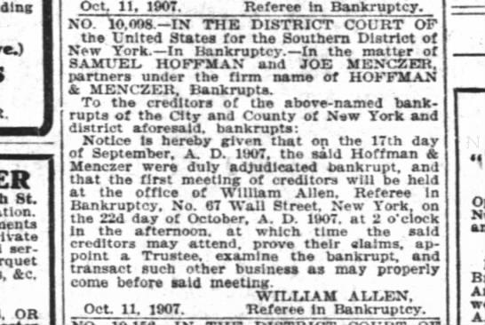Joe Menczer Bankrupt 1906 -