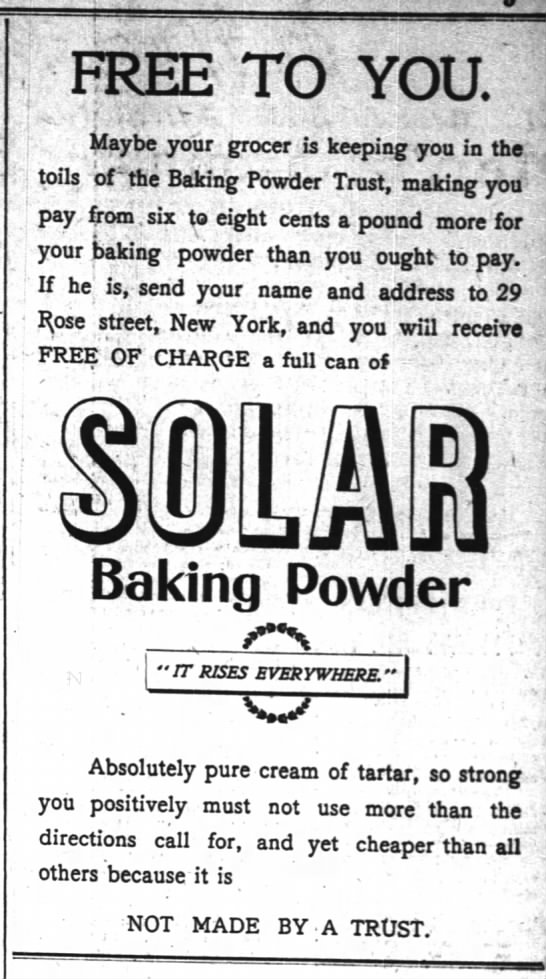 Solar Baking Powder, NYT June 8, 1900