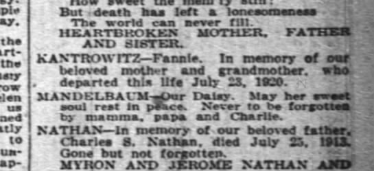 Fanny Kantrowitz died 7/23/1922, mother and grandmother -