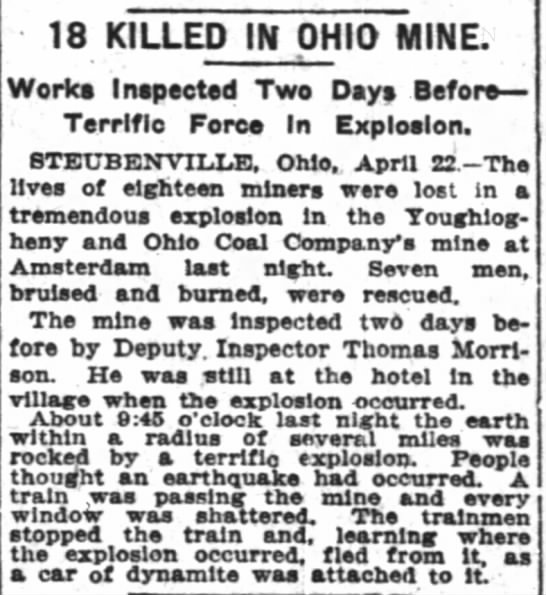 mine explosion 18 lost 1910 -