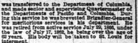 (2nd part of article) Brig Gen Edwin Babbitt obit - to be interred in St. Louis -