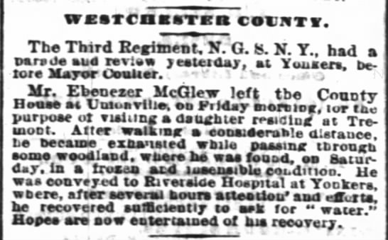 Ebenezer McGlew goes wandering and is recovered, 26 Nov 1872 -