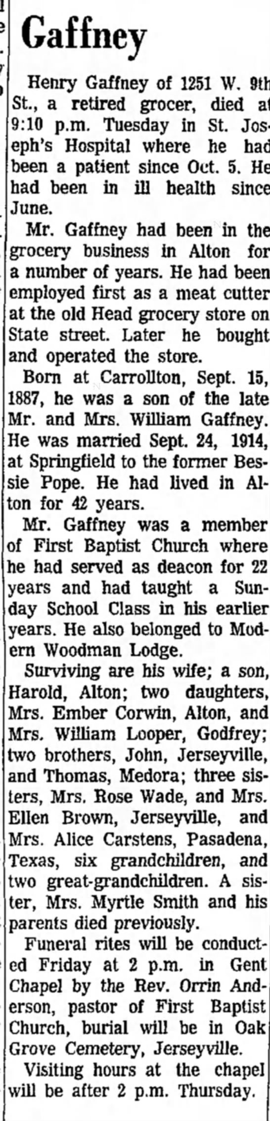 Henry Gaffney obit; Alton Evening Telegraph, Wed, Oct 16, 1963, p 22 -