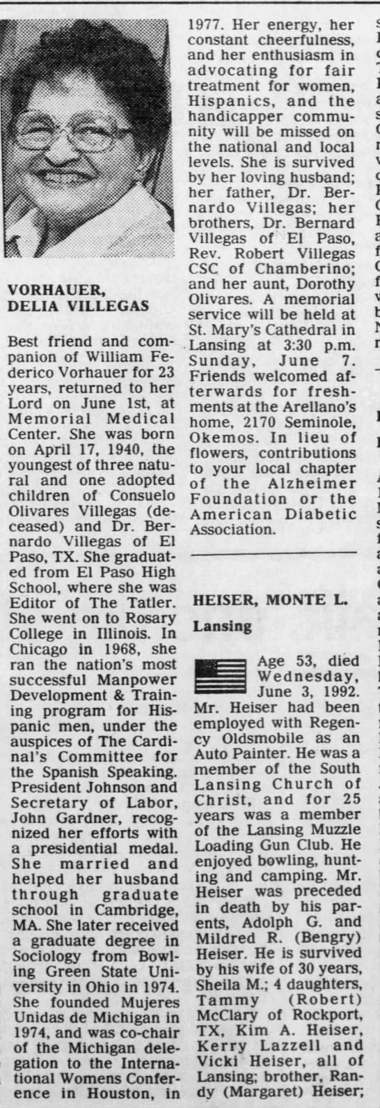 Vorhauer, Delia Villegas. The Lansing State Journal. (Lansing, Michigan) 5 June 1992, p 14 -