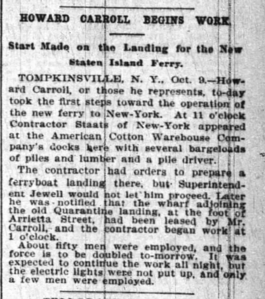 Staats Begins the Ferry