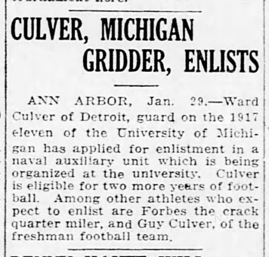 Culver, Michigan Gridder, Enlists -