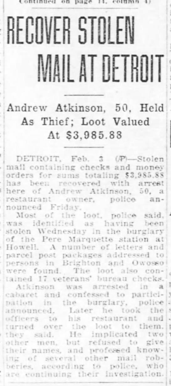 Andrew F Atkinson Confession to Theft -