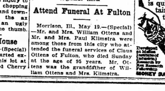 Claus (Klaas) Ottens, Funeral Announcement, Sterling Daily Gazette (Sterling, Illinois) 19 May 1927, -