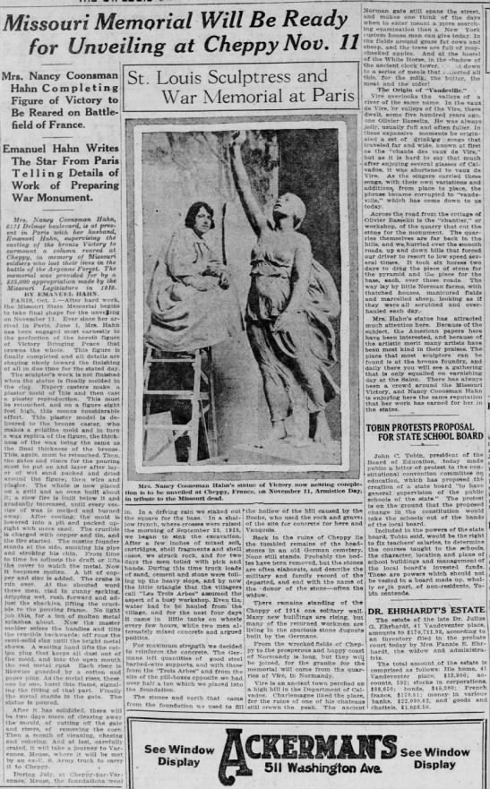 Missouri Memorial Will Be Ready for Unveiling at Cheppy Nov. 11 -