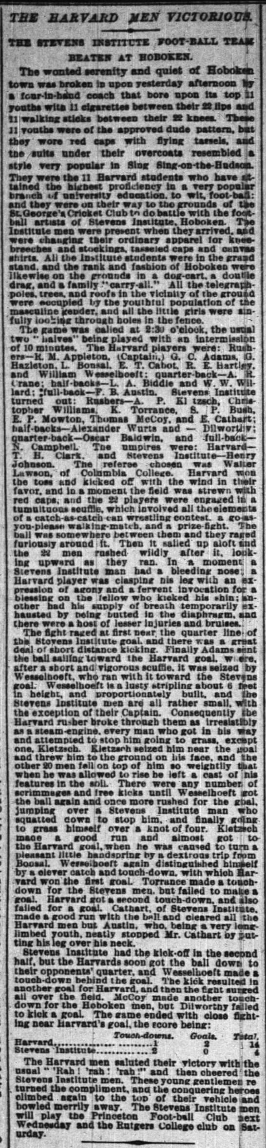 The Harvard Men Victorious: The Stevens Institute Foot-Ball Team Beaten at Hoboken -
