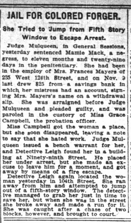 New York Time, 11 June 1911,6 - JAIL FOR COLORED FORGER. She Tried to 'Jump...