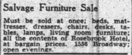 salvage furniture sale -- Rosebrook Hotel -