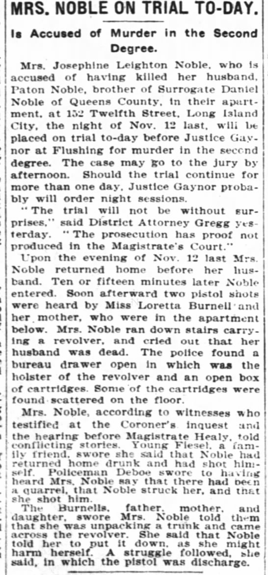 Mrs. Noble arested New York Times 27 April 1905, p 6 -