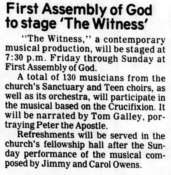 1979 0425 Tom Galley to narrate The Witness as the apostle Peter -