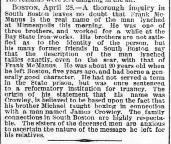 1882-04-29 Frank McManus, of Boston, Lynching News from Mineapolis -