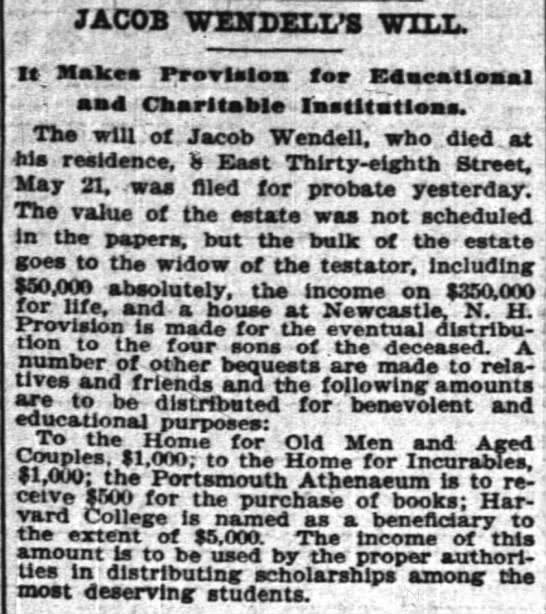 JACOB WENDELL WILL 1898 -