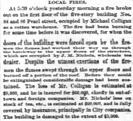 Fire Michael Colligan 16 April 1874 -