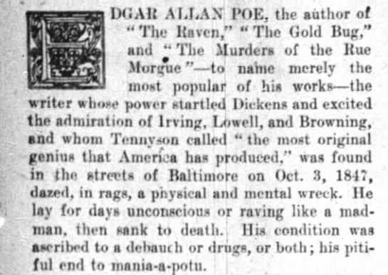Did Edgar Allan Poe Die From Mania-a-potu? -
