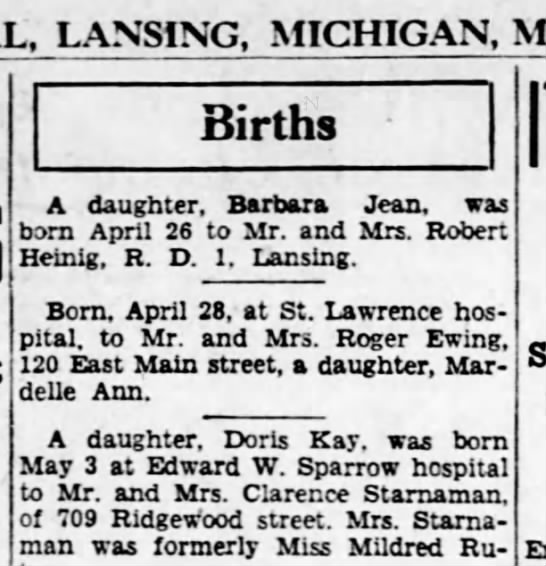 Birth Announcement for Barbara Jean Heinig - MICHIGAN, MONDAY, Births A daughter, Barbara...