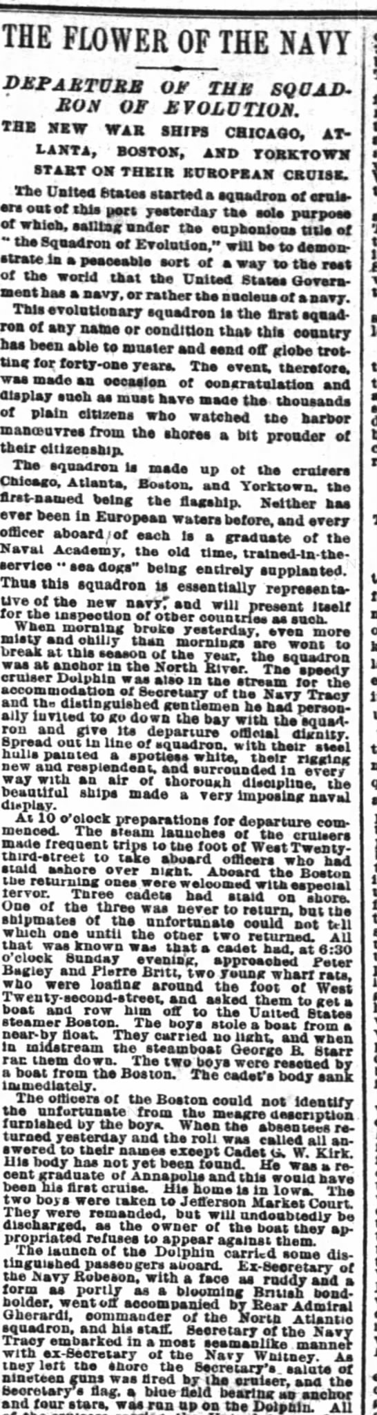 NY Times, 19 Nov 1889.  The new squadron of ABCD ships goes to Europe to show off -