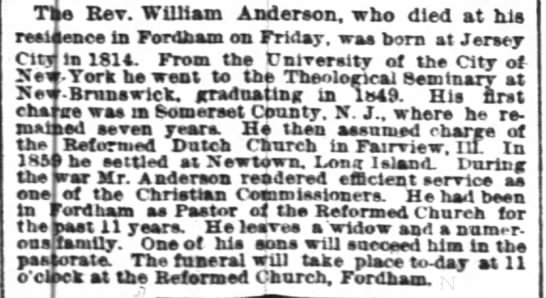 - ie Rev. William Anderson, who died at hi lane...