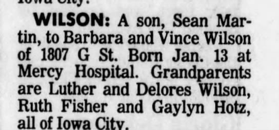 birth announcement - WILSON: A son, Sean Martin, to Barbara and...