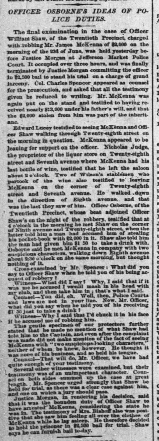 Jas Mck robbed 2 July 1874
