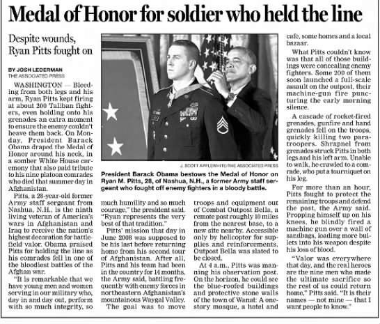 Ryan M. Pitts Awarded Medal of Honor -