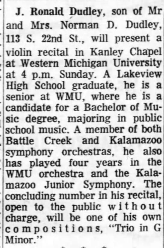 1967 0304 J. Ronald Dudley to present a violin recital at WMU -