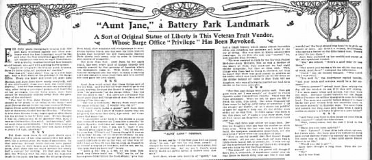 Aunt Jane Noonan Veteran Fruit Seller NYT 1906 -