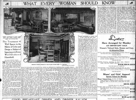 What Every Woman Should Know, The New York Times (New York, New York, 7 April, 1912) p 50 -