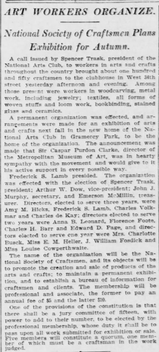 Art Workers Organize. The New York Tribune (New York, New York) April 28, 1906, p 6 -