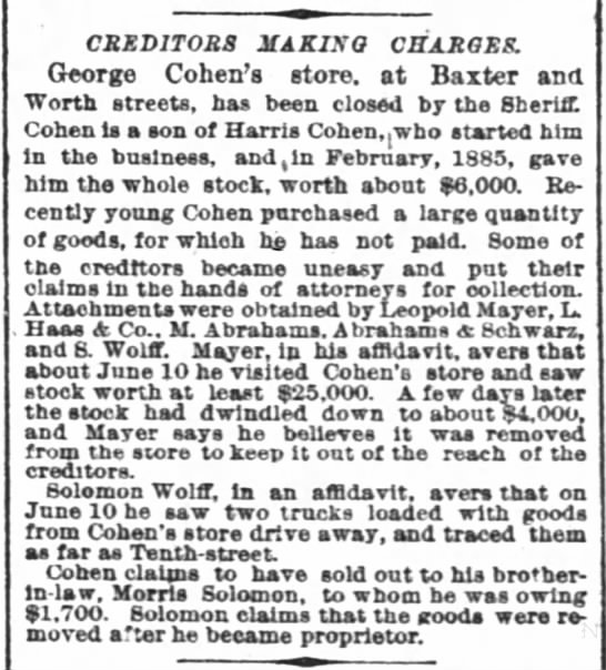 Creditors Making Charges (George Cohen). 21 June 1887. NYT. -