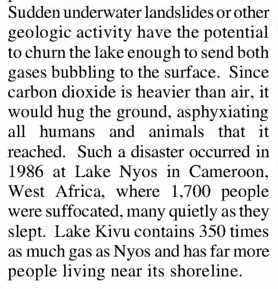 Underwater landslide can cause lake gasses to come to the surface -